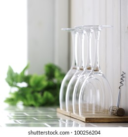 Wine glass on kitchen counter