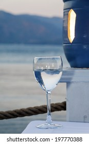 Wine glass on the sea.Ukraine.Crimea