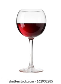 wine glass with red wine, isolated on a white background