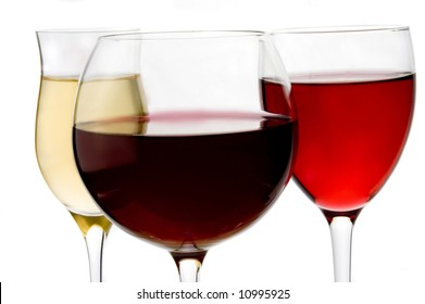 wine glass of red, white and rose