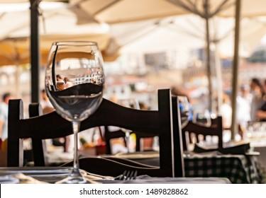 Wine glass in a restaurant in Porto, Portugal
