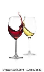 wine glass splash on a white background