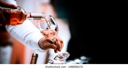 Wine glass white red and rose image for banner advertorial website cover brochure template mock-up