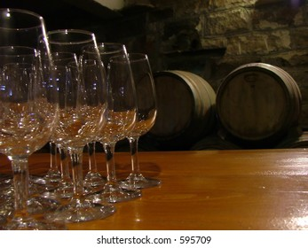 wine glasses and casks