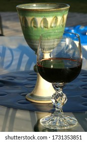 Wine Glasses with Wine up close