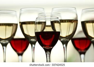 Wine glasses with wine closeup
