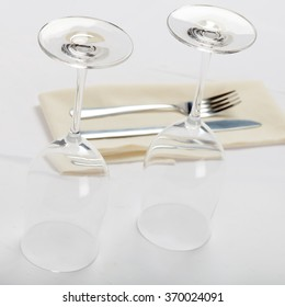 Wine glasses and cutlery