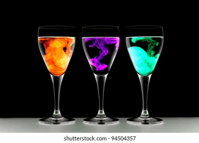 Wine glasses with food coloring