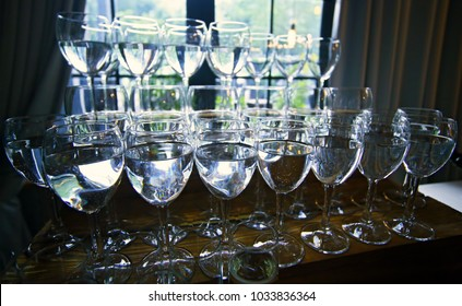 Wine glasses, full of.