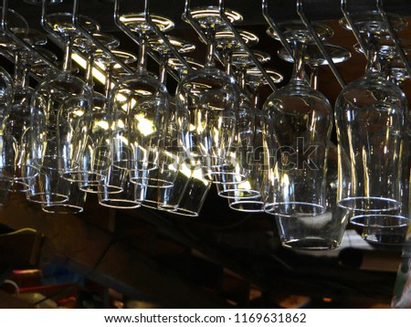 Wine Glasses Hanging Over Bar Small Stock Photo Edit Now