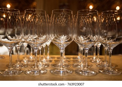 Wine glasses inwarm light  loft restaurant