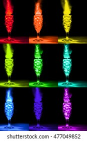 Wine glasses with marbles light painting with Red, Orange, Yellow, Lime Green, Green, Cyan, Blue, Indigo, and Magenta LED lights