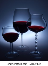wine glasses on the dark background