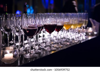 Wine glasses on drink service counter