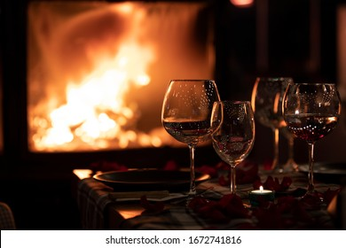wine glasses on fire background
