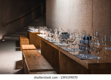 WIne glasses on a table