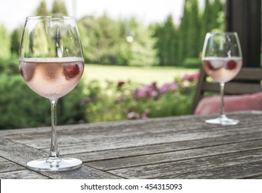 wine glasses on table at garden