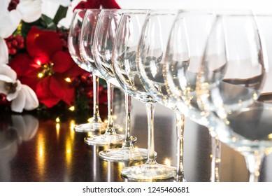 Wine Glasses and Poinsettia