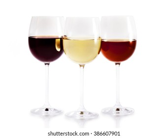 Wine glasses / Set of wine glasses red, white rose