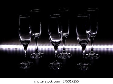 Wine glasses are shelf with LED backlight