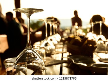 Wine Glasses at Sunset - Stari Grad, Croatia