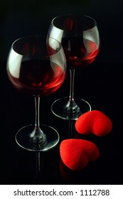 Wine glasses and a two hearts