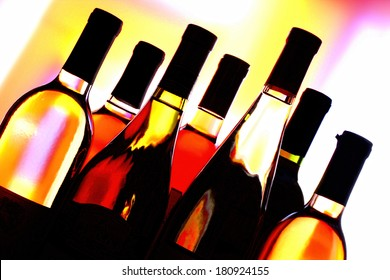 Wine Glassware Abstract background design made from  wine bottles