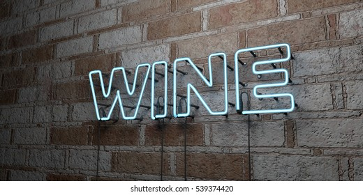 WINE - Glowing Neon Sign on stonework wall - 3D rendered royalty free stock illustration.  Can be used for online banner ads and direct mailers.