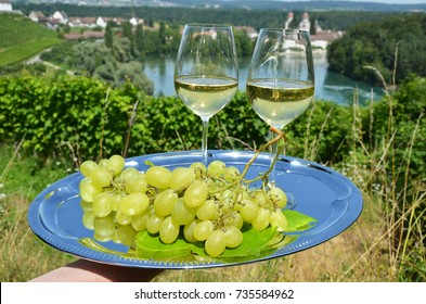 Wine and grapes against vineyards in Rheinau, Switzerland