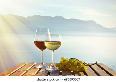 Wine and grapes. Lavaux region at Geneva lake, Switzerland