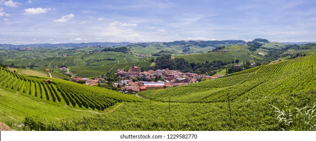 Wine hills in Langhe with the village and castle of Barolo. Barolo is the capital of Langhe (Unesco World Heritage Site), where Barolo wine is produced.