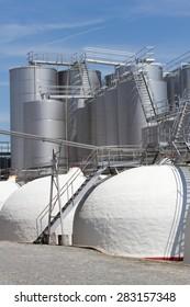 Wine industry in Portugal.  Wine metallic fermentation tanks.