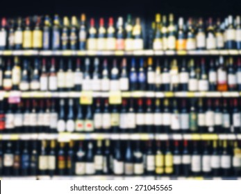 Wine Liquor bottles on shelf liquor drink Retail shop Background