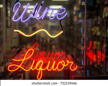 Wine and Liquor neon sign in the window of a Liquor store