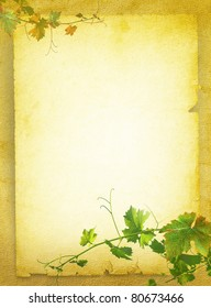 Wine list menu with grapes green leafs on the old blank paper. Vintage background for the wine poster on textured old parchment.