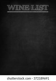 Wine list on blackboard
