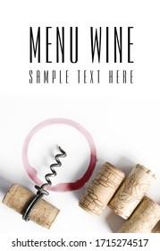 Weinmenü-Design, Korkenzieher - isolierter Text