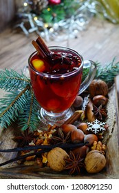 Wine mulled with spices. Christmas mulled wine. Christmas Eve