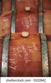 Wine in oak barrels