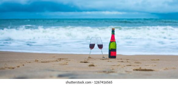 wine on a beach