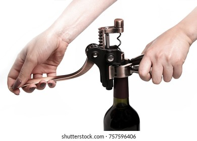 Wine Opener Corkscrew With An Extra Corkscrew Worm Spiral using hands