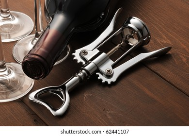 Wine opener on the table