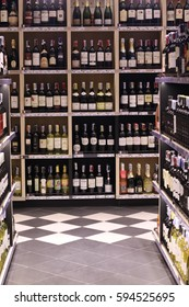Wine and other alcohol products in bottles in Wine and Liquor shop in Bangkok, Thailand February 25, 2017,