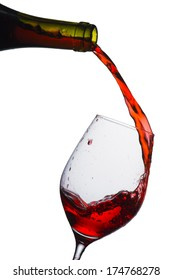 wine pouring from bottle to glass