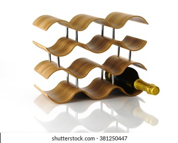 Wine Rack on white background with champagne bottle.