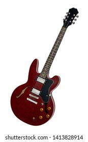 Wine red and black wooden electric guitar with shabby lacquer isolated on a white background. Music instruments series