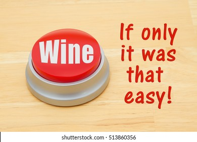 A Wine red push button, A red and silver push button on a wooden desk with text Wine and if only it was that easy