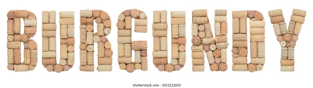 Wine region of France Burgundy made from wine corks Isolated on white background