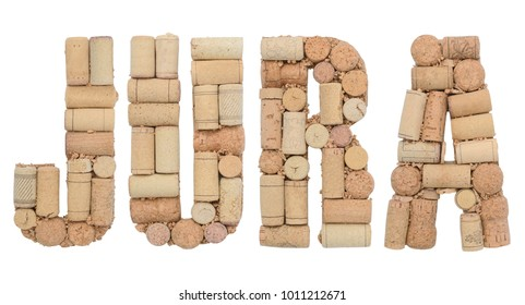 Wine region of France Jura made from wine corks Isolated on white background
