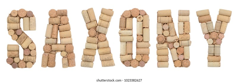 Wine region of Germany Saxony made from wine corks Isolated on white background